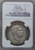 Coins of Hawaii: , 1883 $1 Hawaii Dollar -- Reverse Scratched -- NGC Details. XF. NGCCensus: (48/226). PCGS Population (126/392). Mintage: 50...
