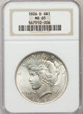 Peace Dollars: , 1926-D $1 MS65 NGC. NGC Census: (485/105). PCGS Population(647/182). Mintage: 2,348,700. Numismedia Wsl. Price for problem...