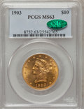 Liberty Eagles: , 1903 $10 MS63 PCGS. CAC. PCGS Population (134/48). NGC Census:(133/55). Mintage: 125,800. Numismedia Wsl. Price for proble...