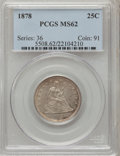 Seated Quarters: , 1878 25C MS62 PCGS. PCGS Population (22/55). NGC Census: (16/43).Mintage: 2,260,800. Numismedia Wsl. Price for problem fre...