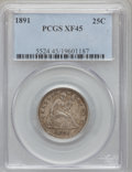 Seated Quarters: , 1891 25C XF45 PCGS. PCGS Population (10/609). NGC Census: (4/555).Mintage: 3,920,600. Numismedia Wsl. Price for problem fr...