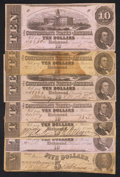 Confederate Notes:1862 Issues, T52 $10 1862. Six Examples.. T53 $5 1862.. ... (Total: 7 notes)