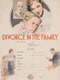 Mainstream Illustration, HOWARD WILLIAM WOOKEY (American, 1895-1970). Divorce in theFamily, movie poster illustration, 1932. Watercolor and ink ...