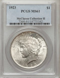 Peace Dollars, 1923 $1 MS61 PCGS. Ex: McClaren Collection II. PCGS Population(554/166335). NGC Census: (373/243935). Mintage: 30,800,000....