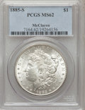 Morgan Dollars, 1885-S $1 MS62 PCGS. PCGS Population (1624/5548). NGC Census:(946/3214). Mintage: 1,497,000. Numismedia Wsl. Price for pro...