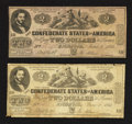 Confederate Notes:1862 Issues, CT42 $2 1862. Two Examples.. ... (Total: 2 notes)