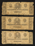 Confederate Notes:1863 Issues, T62 $1 1863. Three Examples.. ... (Total: 3 notes)