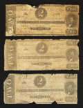 Confederate Notes:1862 Issues, T54 $2 1862.. T61 $2 1863. Two Examples.. ... (Total: 3 notes)