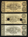 Confederate Notes:1863 Issues, T59 $10 1863. Three Examples.. ... (Total: 3 notes)