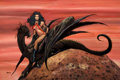 Pulp, Pulp-like, Digests, and Paperback Art, RON LESSER (American, 20th Century). Vampirella Rides the BlackDragon. Acrylic on masonite. 20 x 30 in.. Signed lower l...