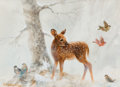 Mainstream Illustration, JOSEPH GIORDANO (American, b. 1935). Young Deer with Birds,Norcross Calendar Company illustration. Watercolor and gouac...