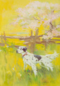 Mainstream Illustration, GEORGE EDWARD PORTER (American, b. 1916). English Setter on aField. Gouache on board. 7 x 5 in.. Signed lower right. ...