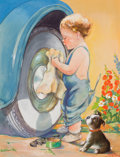 Mainstream Illustration, BERTHA WARREN BOYD (American, 20th Century). Cleaning theWheel. Gouache on board. 12.25 x 9.5 in.. Signed lower right....