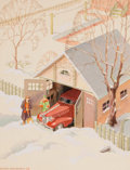 Mainstream Illustration, ARTHUR FITZPATRICK (American, 1890-1983). Snowed In, 1936.Watercolor on paper laid on board. 11 x 8.5 in.. Signed lower...