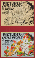 Mainstream Illustration, AMERICAN ARTIST (20th Century). Pictures for Little People toDraw and Crayon, cartoon illustrations (pair). Pen and ink...