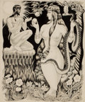 Mainstream Illustration, YUNGE (20th Century). Adam and Eve in the Garden. Pen andink on paper laid on board. 15 x 12.5 in.. Not signed.Fro...