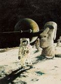 Mainstream Illustration, ENRICH TORRES (Spanish, b. 1939). Spaceman with Moon Statue.Oil on canvas laid on board. 19.5 x 14.5 in.. Signed lower ...