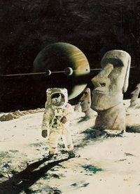 ENRICH TORRES (Spanish, b. 1939) Spaceman with Moon Statue Oil on canvas laid on board 19.5 x 14