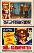 "Movie Posters:Horror, Son of Frankenstein (Realart, R-1953). Title Lobby Card and LobbyCard (11"" X 14"").. ... (Total: 2 Items)"