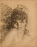 Pin-up and Glamour Art, ROLF ARMSTRONG (American, 1889-1960). Study of Jewel.Charcoal on board. 21 x 16 in.. Not signed. ...