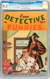 Keen Detective Funnies #10 Billy Wright pedigree (Centaur, 1938) CGC VF+ 8.5 Off-white to white pages