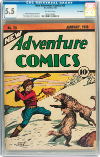 New Adventure Comics #23 Billy Wright pedigree (DC, 1938) CGC FN- 5.5 Off-white pages