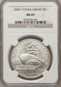 Modern Issues: , 2000-P $1 Library of Congress Silver Dollar MS69 NGC. NGC Census:(834/676). PCGS Population (1531/297). Numismedia Wsl. P...