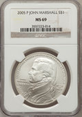 Modern Issues, 2005-P $1 Marshall MS69 NGC. NGC Census: (871/1213). PCGSPopulation (1268/335). Numismedia Wsl. Price for problem free NG...