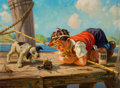Mainstream Illustration, HY (HENRY) HINTERMEISTER (American, 1897-1972). Playing with theCrab. Oil on canvas. 22 x 30 in.. Signed lower right. ...