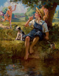 Mainstream Illustration, HY (HENRY) HINTERMEISTER (American, 1897-1972). Boy Fishing.Oil on canvas. 23 x 18 in.. Signed lower right. ...