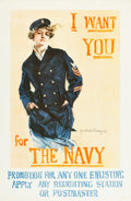 "Movie Posters:War, World War I ""Christy Girl"" Recruiting Poster (U.S. Navy, 1917).Howard Chandler Christy Poster (27"" X 41"").""I Want You for t..."
