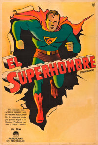 "Superman Cartoon Stock (Paramount, 1941). Argentinean Poster (29"" X 42.5"")"