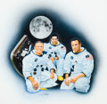 Mainstream Illustration, AMERICAN ARTIST (20th Century). NASA Astronauts. Mixed mediaon board. 30 x 35 in.. Signed indistinctly lower middle. ...