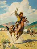 Mainstream Illustration, WALTER MARTIN BAUMHOFER (American, 1904-1987). The Pony Express,St. Joseph. Oil on board. 36.5 x 27.5 in.. Signed lower...