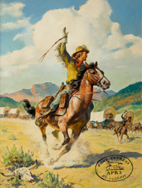 WALTER MARTIN BAUMHOFER (American, 1904-1987) The Pony Express, St. Joseph Oil on board 36.5 x 27