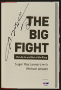 """Boxing Collectibles:Autographs, Sugar Ray Leonard Signed """"The Big Fight"""" Hardcover Book. ..."""