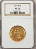 Liberty Eagles: , 1855 $10 AU58 NGC. NGC Census: (133/44). PCGS Population (22/18).Mintage: 121,701. Numismedia Wsl. Price for problem free ...
