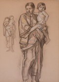 Mainstream Illustration, DEAN CORNWELL (American, 1892-1960). Mural Study: two studies ofwomen holding babies. Charcoal and pastel on paper. 23....