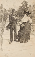 Pulp, Pulp-like, Digests, and Paperback Art, ALICE BARBER STEPHENS (American, 1858-1932). In CasualConversation. Charcoal and conte crayon board. 22.5 x 14 in..Ini...