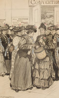 Mainstream Illustration, ALICE BARBER STEPHENS (American, 1858-1932). The Convention.Charcoal and conte crayon on board. 23.25 x 14 in. (image)...