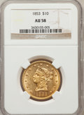 Liberty Eagles: , 1853 $10 AU58 NGC. NGC Census: (177/38). PCGS Population (28/25).Mintage: 201,253. Numismedia Wsl. Price for problem free ...