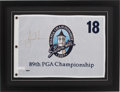 """Golf Collectibles:Autographs, Tiger Woods Signed """"2007 PGA Championship"""" Upper Deck AuthenticatedFlag. ..."""