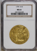 Early Eagles: , 1795 $10 13 Leaves MS61 NGC. NGC Census: (19/42). PCGS Population (8/36). Mintage: 5,583. Numismedia Wsl. Price: $98,500. (...
