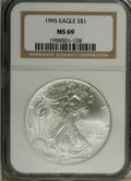 Modern Bullion Coins: , 1995 $1 Silver Eagle MS69 NGC. NGC Census: (38670/247). PCGSPopulation (2868/1). Mintage: 4,672,051. Numismedia Wsl. Price...