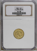 Territorial Gold: , 1860 $2 1/2 Clark, Gruber & Co. Quarter Eagle AU58 NGC. NGCCensus: (7/13). PCGS Population (10/18). (#10135)...