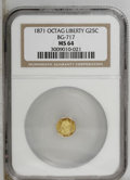 California Fractional Gold: , 1871 25C Liberty Octagonal 25 Cents, BG-717, R.3, MS64 NGC. PCGSPopulation (61/66). (#10544)...