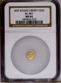 California Fractional Gold: , 1859 25C Liberty Round 25 Cents, BG-801, R.3, MS64 NGC. NGC Census:(5/3). PCGS Population (34/14). (#10662)...