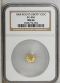 California Fractional Gold: , 1868 25C Liberty Round 25 Cents, BG-806, R.3, MS66 NGC. PCGSPopulation (14/0). (#10667)...