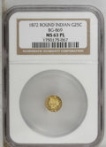 California Fractional Gold: , 1872/1 25C Indian Round 25 Cents, BG-869, Low R.4, MS63 NGC. PCGSPopulation (34/52). (#10730)...
