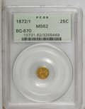 California Fractional Gold: , 1872/1 25C Indian Round 25 Cents, BG-870, R.3, MS62 PCGS. PCGSPopulation (18/159). (#10731)...